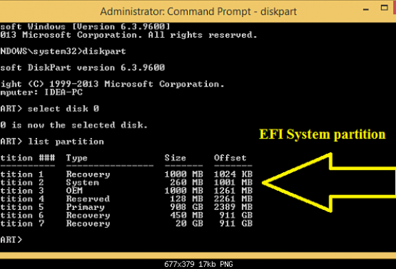 Create the missing EFI System partition