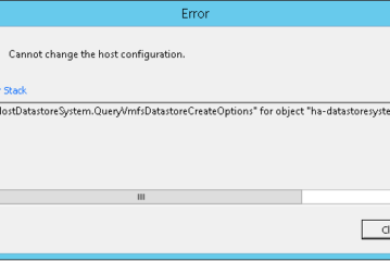 "VMware error adding datastore ""Cannot change the host configuration"""