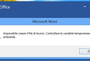 Impossibile creare il file di lavoro Office 2007