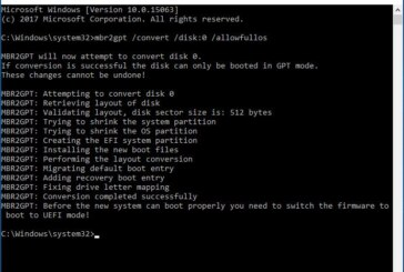 MBR to GPT conversion (LEGACY to UEFI)