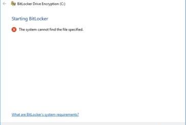 Bitlocker – Impossibile trovare il file specificato / Errore nella configurazione