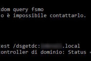 Impossibile ottenere il nome del controller di dominio: Status = 1355 0x54b ERROR_NO_SUCH_DOMAIN